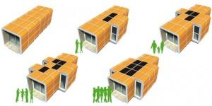 I moduli possono agilmente ospitare singoli individui, piccoli o grandi gruppi di persone senza problemi.
