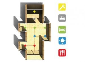 """Il sistema permette di variare gli ambienti attraverso lo """"scorrimento"""" dei moduli"""